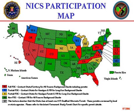 NICS Participation Map depicting each state's level of participation with the NICS.