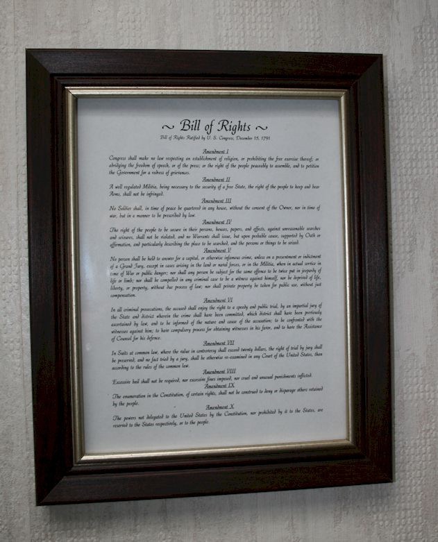 Bill of Rights, with the Second Amendment Clause - Framed